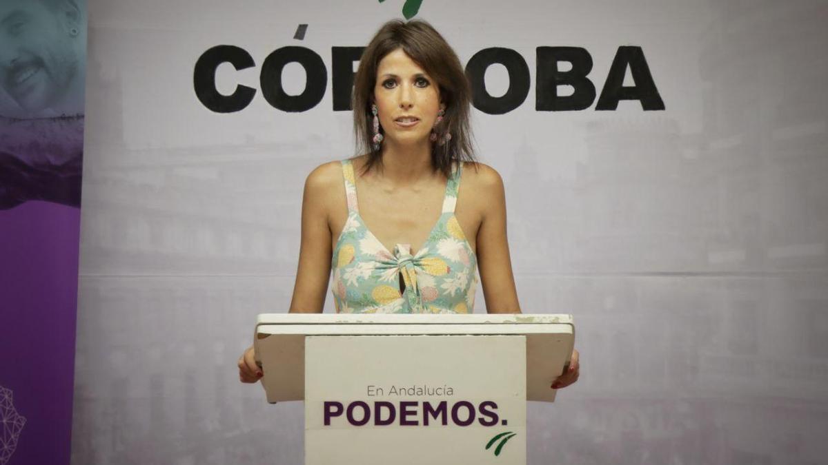 Martina Velarde durante su comparecencia.