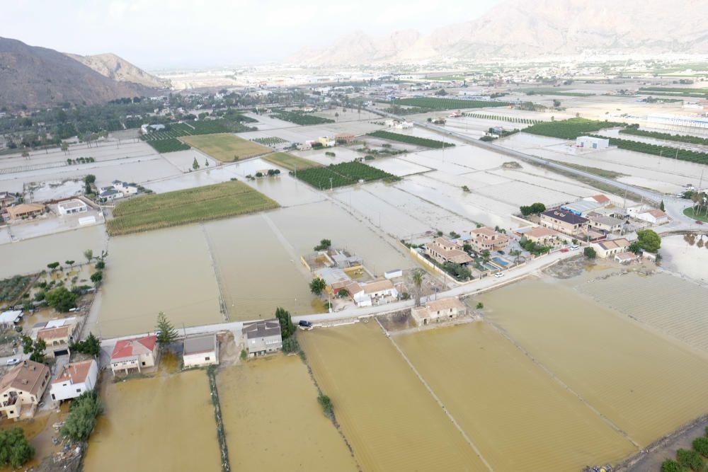 Más de cuatro mil hectáreas de terreno agrícola y urbano siguen anegadas por el agua. En estas imágenes la huerta de Orihuela