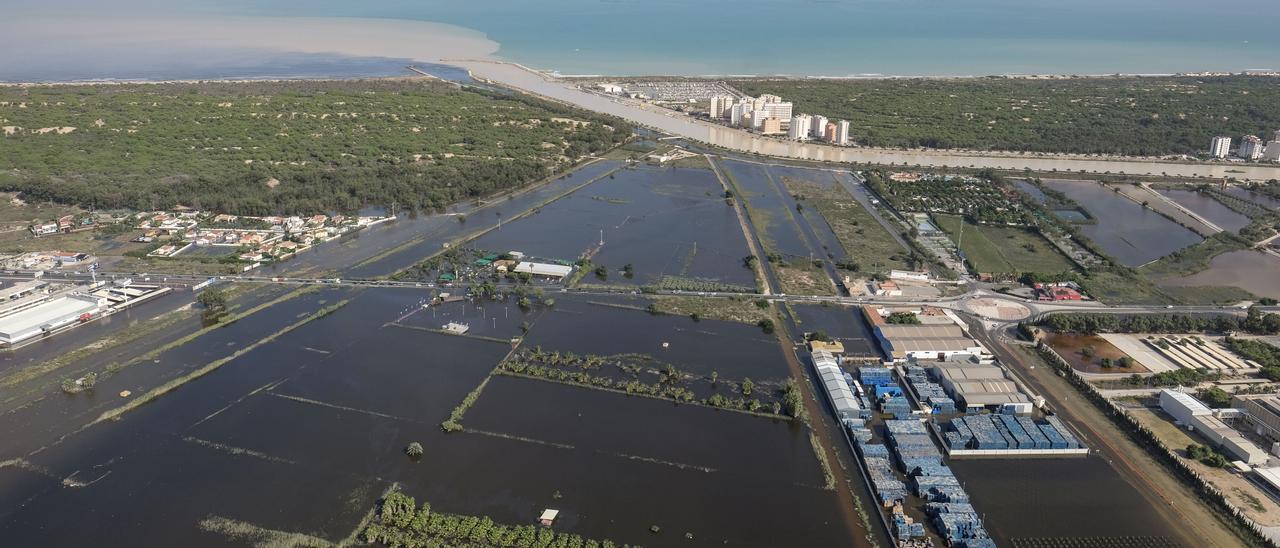 Imagen aérea de la aportación de sedimentos con el agua de avenida en la desembocadura de los cauces viejo y nuevo del Segura, en la riada de septiembre de 2019.