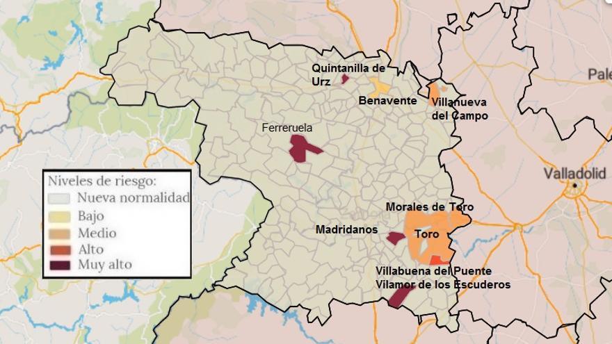 Mapa de coronavirus de Zamora, hoy, lunes | Villamor y Villabuena del Puente, con casos