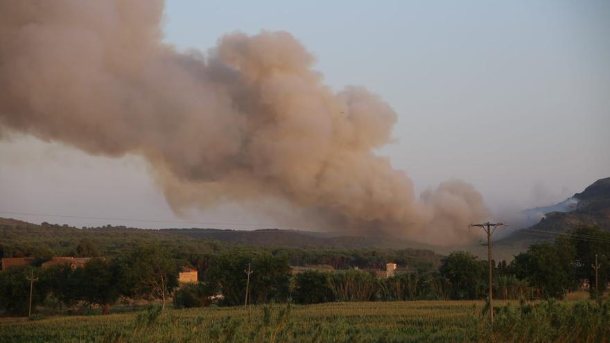 Els Bombers ancoren el flanc dret de l'incendi del Montgrí, que afecta 35 hectàrees