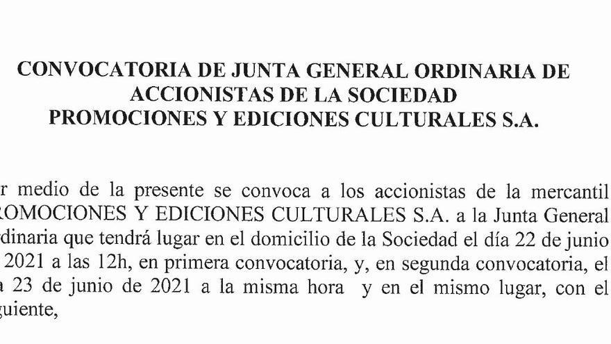 Convocatoria de Junta General Ordinaria de Accionistas de la Sociedad Promociones y Ediciones Culturales S. A.