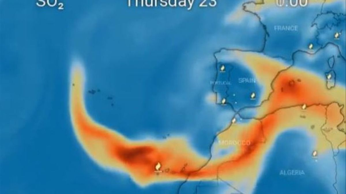 La nube de dióxido de azufre se acerca a la Península y a las Baleares.