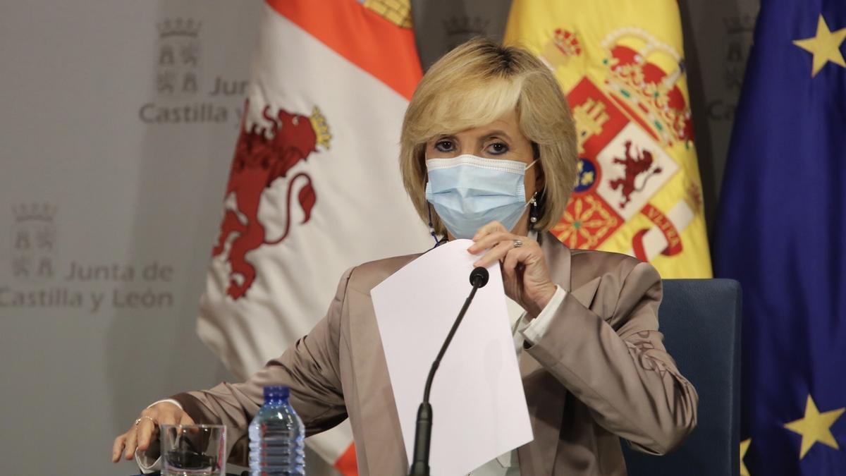 La consejera Verónica Casado durante la rueda de prensa de hoy.