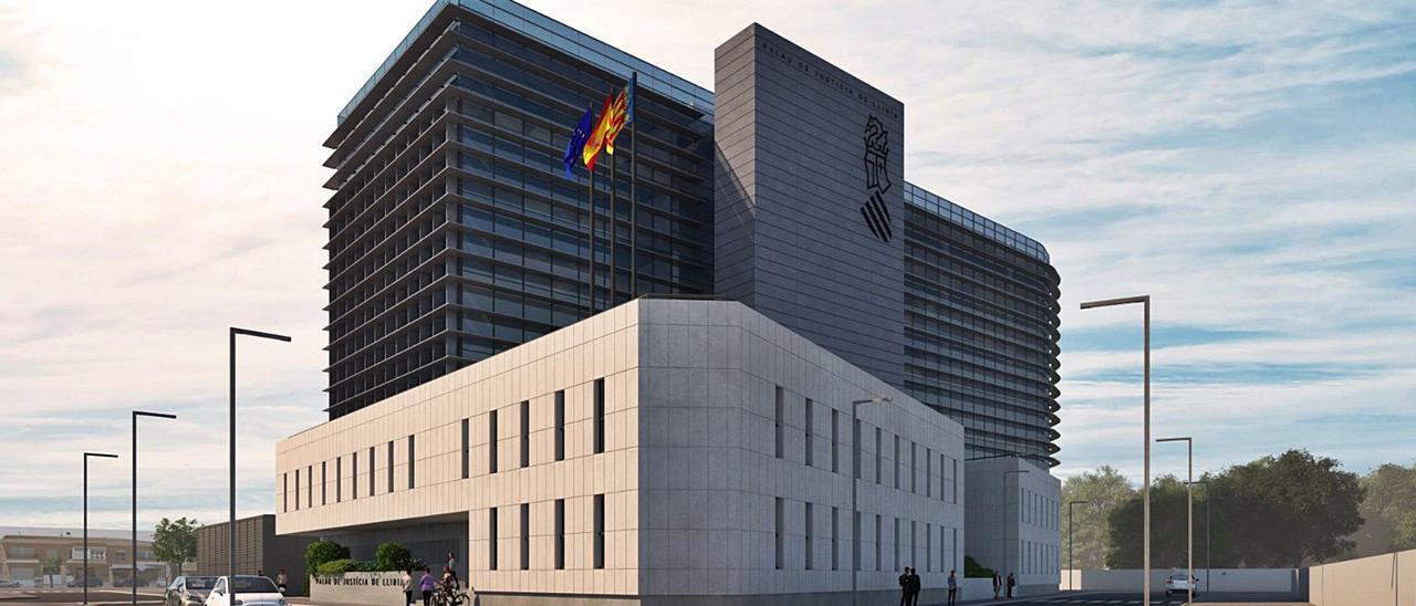 Una imagen del futuro Palacio de Justicia de Llíria, en la avenida de Bétera, tendrá seis alturas y 11.000 metros cuadrados.  | LEVANTE-EMV