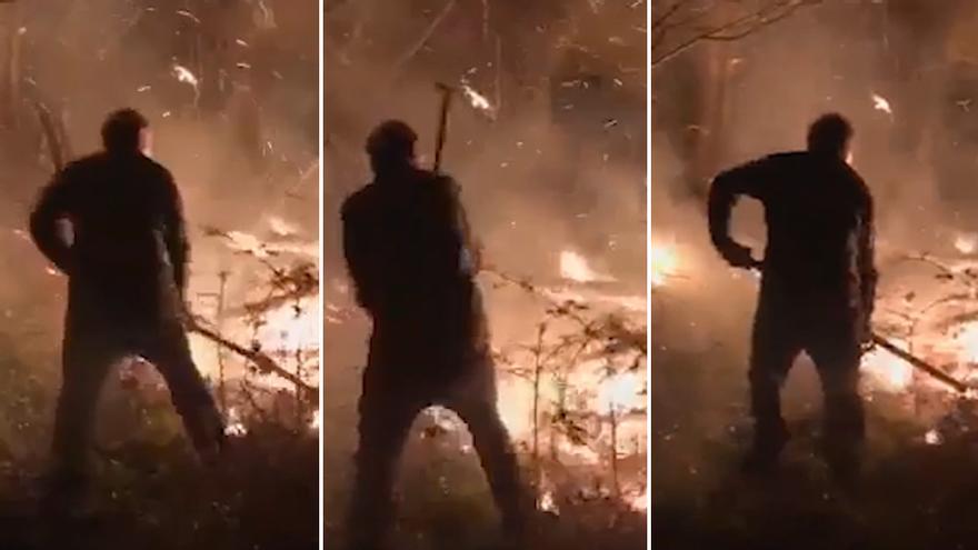 """La lucha de unos vecinos de Piloña contra las llamas: """"Estuvimos toda la noche tratando de apagarlo"""""""