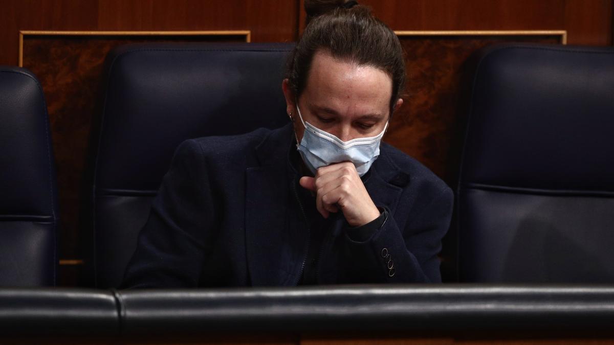 El líder de Unidas Podemos, Pablo Iglesias, en el Congreso