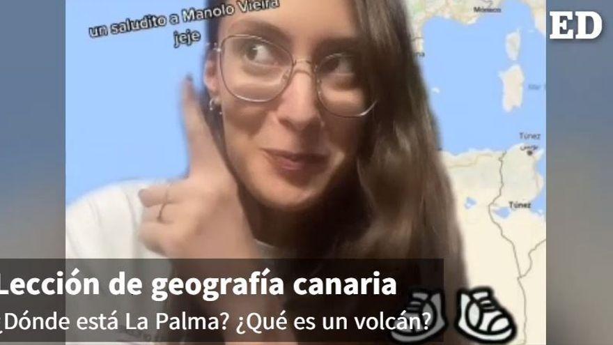 La tiktoker canaria que triunfa con su magistral clase de geografía tras al erupción del volcán de La Palma