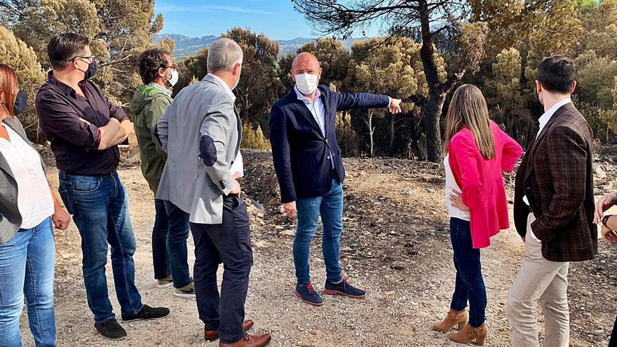 Gaspar visita la zona del incendio de Oliva y anuncia ayudas para su recuperación