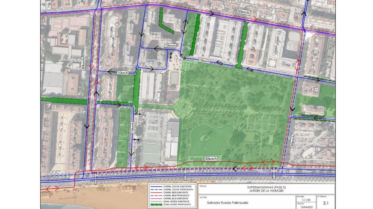 Detalle de la ordenación del tráfico propuesta en la supermanzana de Huelin.