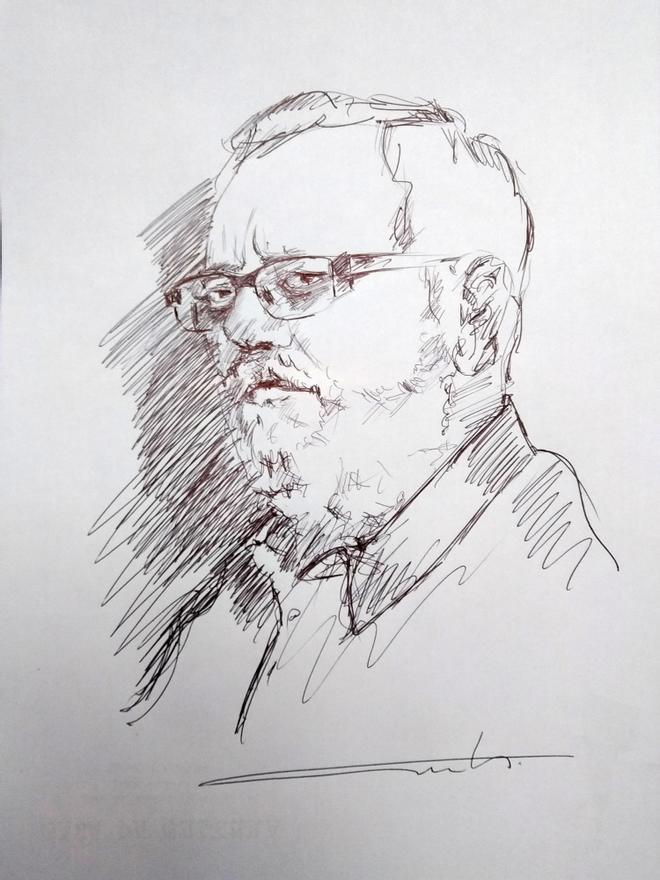 Retrato en honor a Xosé Manuel Pazos, por el artista cangués Camilo Camaño