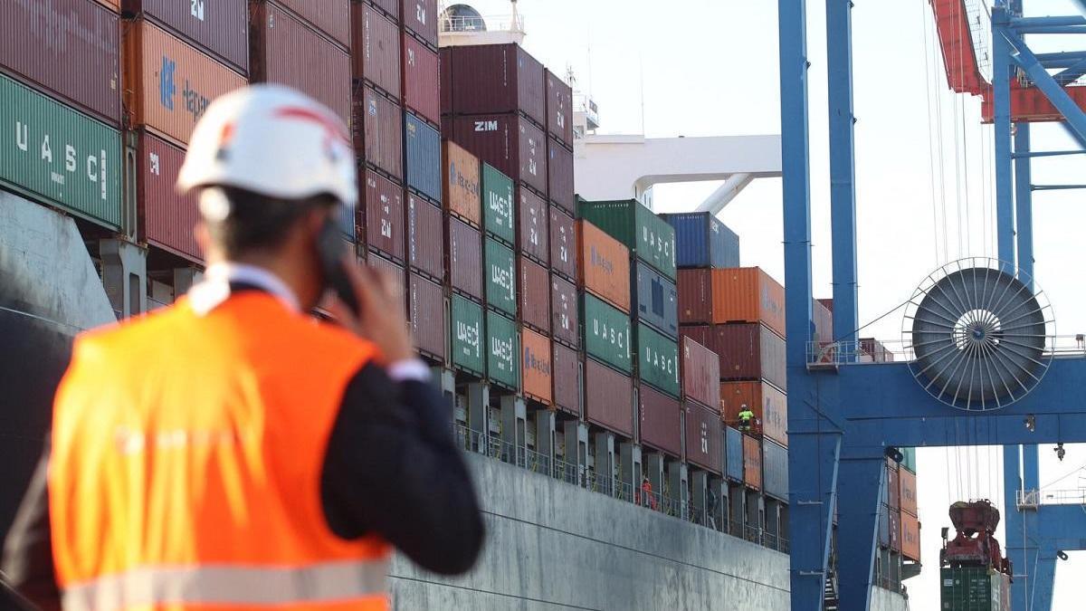 Descargas en el buque de Hapag-Lloyd en el Puerto de Málaga.