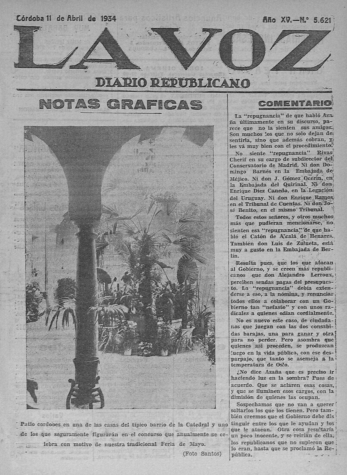 Recinto del barrio de la Judería en la portada del diario la Voz de 1934