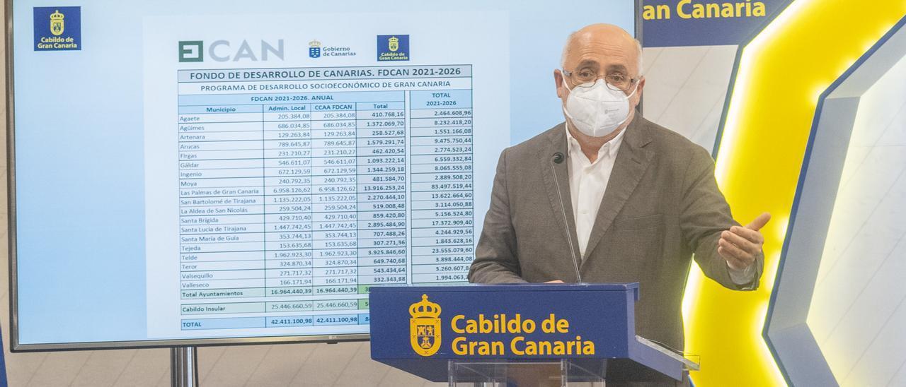 Antonio Morales, junto a la tabla del reparto de los fondos del Fdcan