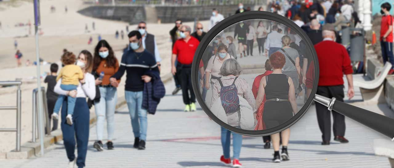 Transeúntes paseando ayer en Samil aprovechando la relajación en las restricciones