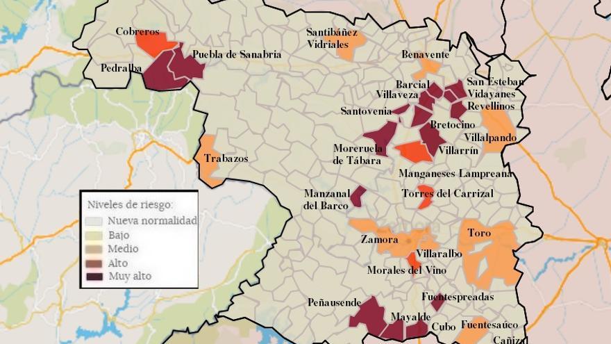 Mapa de coronavirus de Zamora, hoy, viernes | Villalpando y Villaralbo vuelven a los contagios y San Cristóbal a zona limpia