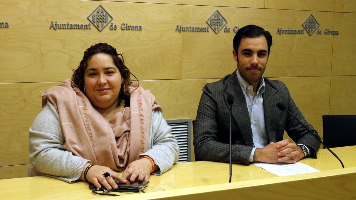 Els dos regidors de Cs a l'Ajuntament de Girona, Daniel Pamplona i Míriam Pujola