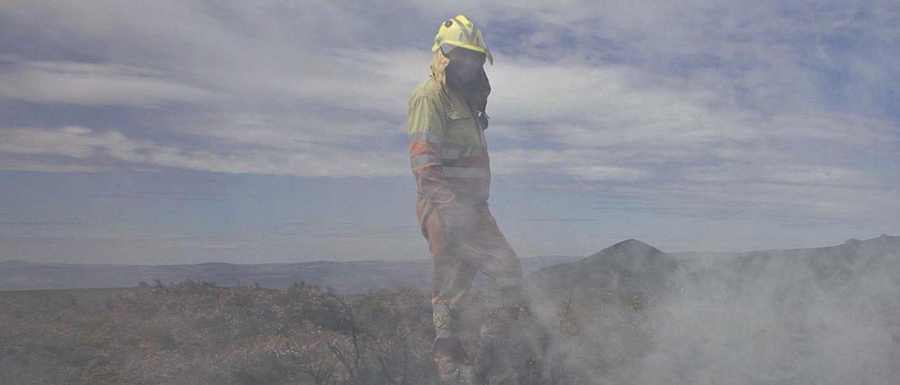 Un miembro de la brigada de Tineo, entre los rescoldos del incendio en la sierra de Carondio. | Miki López