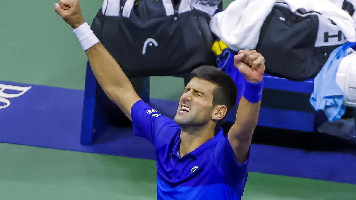 Djokovic celebra su pase a la final.