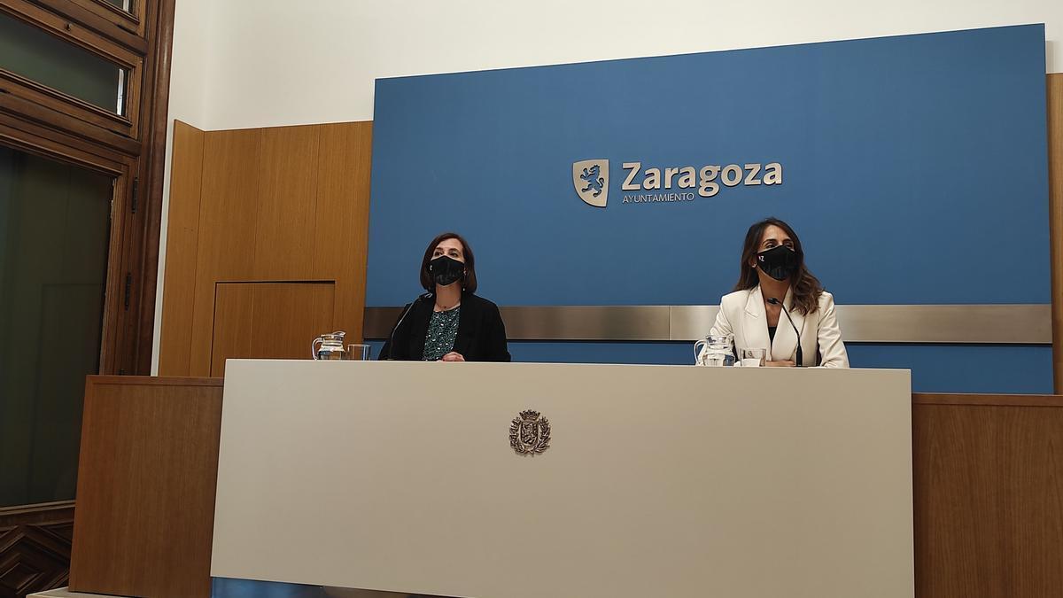 La portavoz de Cs en el Ayuntamiento, Sara Fernández, y la portavoz del PP, María Navarro, presentan una moción para que el Gobierno no conceda el indulto a los condenados por el 'procés'.