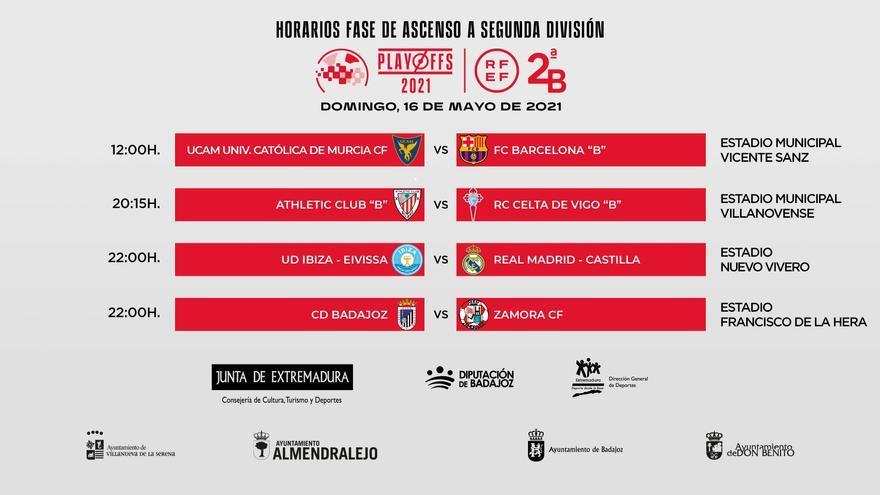 El CD Badajoz - Zamora CF, a las diez de la noche