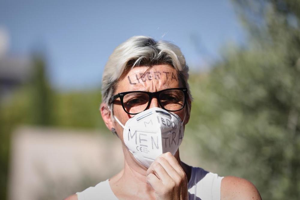Concentració a Madrid contra les mascaretes