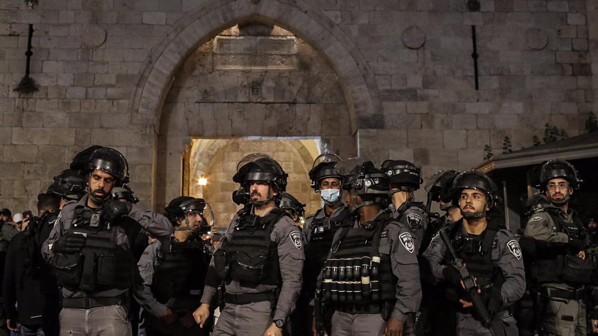 Policía de Israel durante una protesta en Jerusalén.