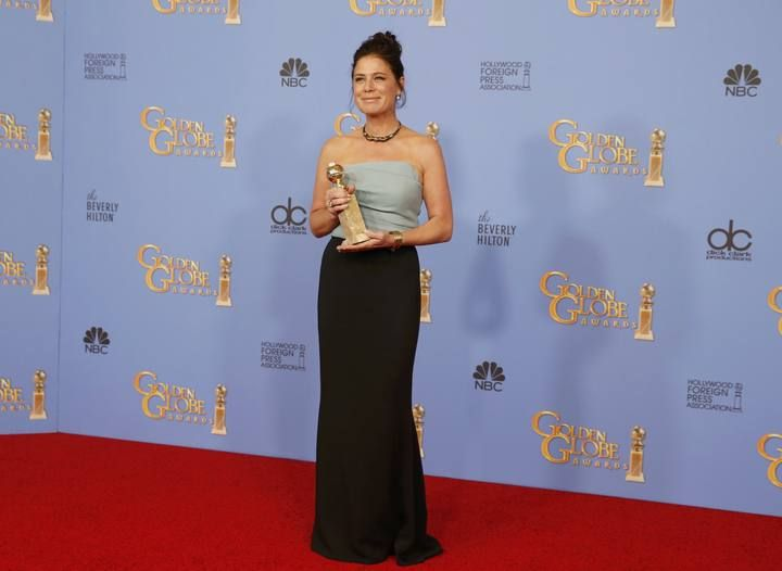"Actress Maura Tierny poses with her award for Best Performance by an Actress in a Supporting Role in a Series, Limited Series or Motion Picture Made for Television for ""The Affair"" backstage at the 73rd Golden Globe Awards in Beverly Hills"