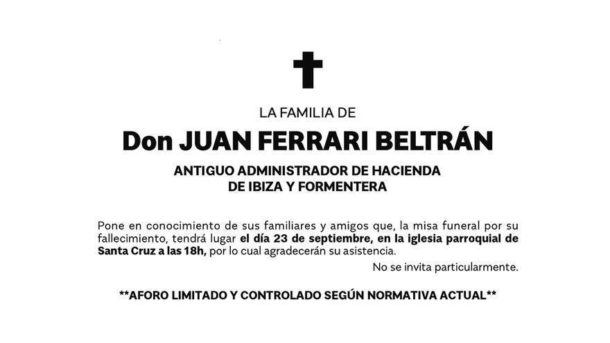 Esquela de don Juan Ferrari Beltrán