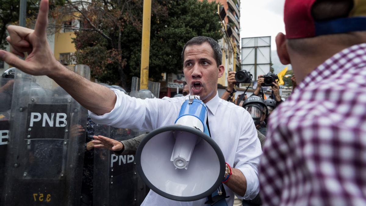 Juan Guaidó, durante una marcha en Caracas