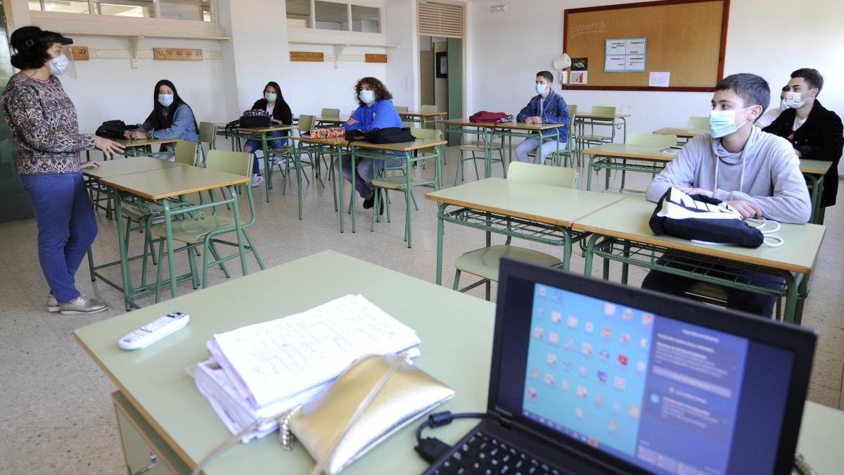 Clase en un instituto de Galicia.