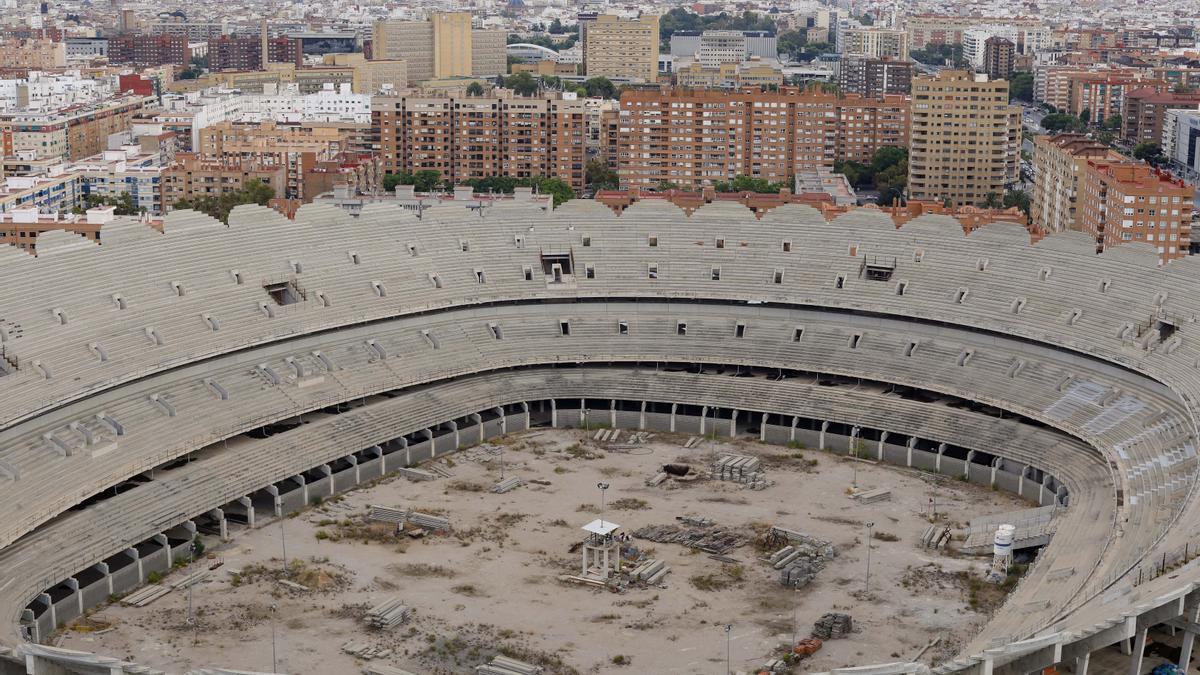 Estado de las paralizadas obras del nuevo Mestalla