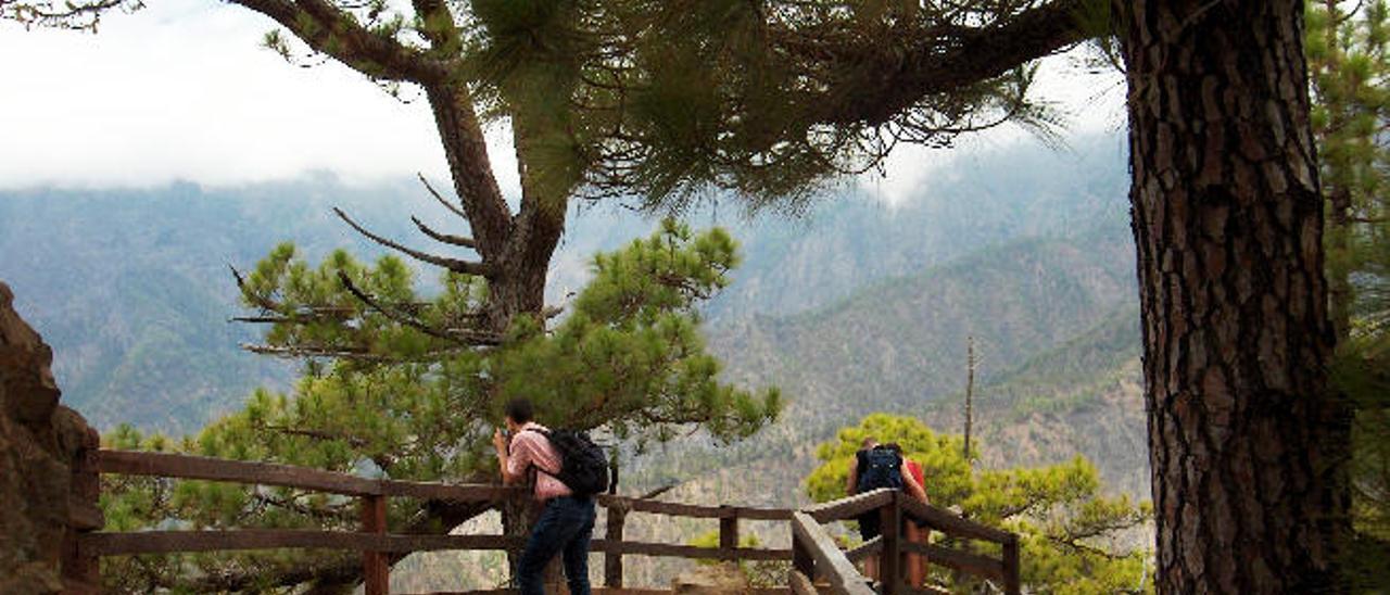 Turistas en el Parque Nacional de la Caldera de Taburiente.