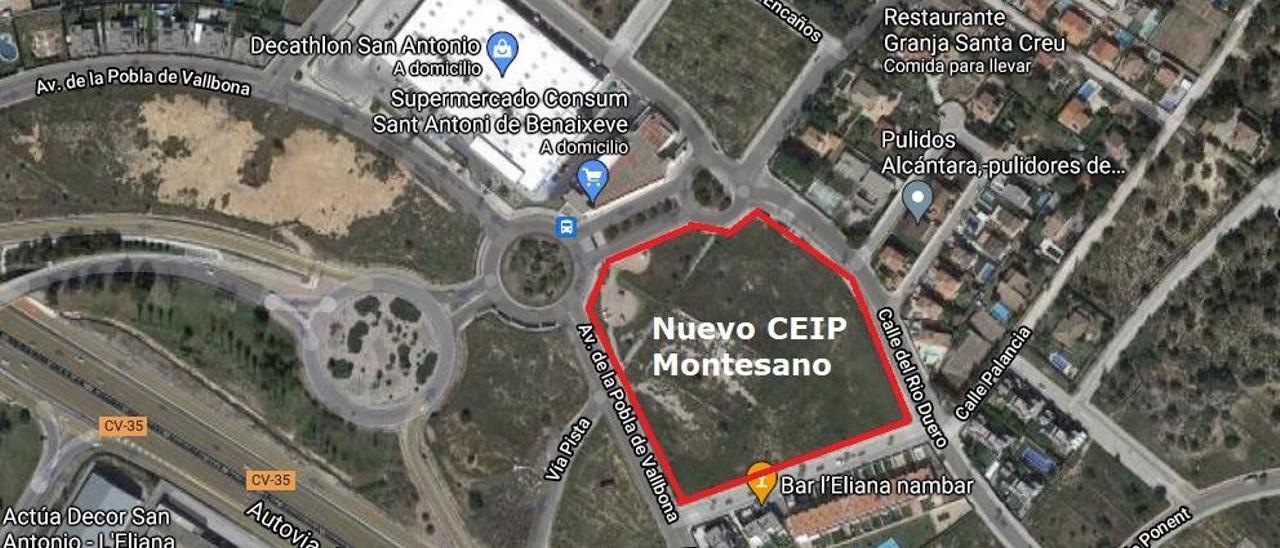 Plano donde se ubicará el nuevo CEIP en Montesano.