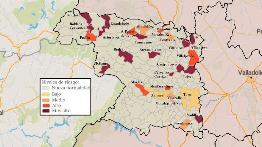 Mapa de coronavirus de Zamora, hoy, viernes | La incidencia en la capital, por debajo de los 40 casos