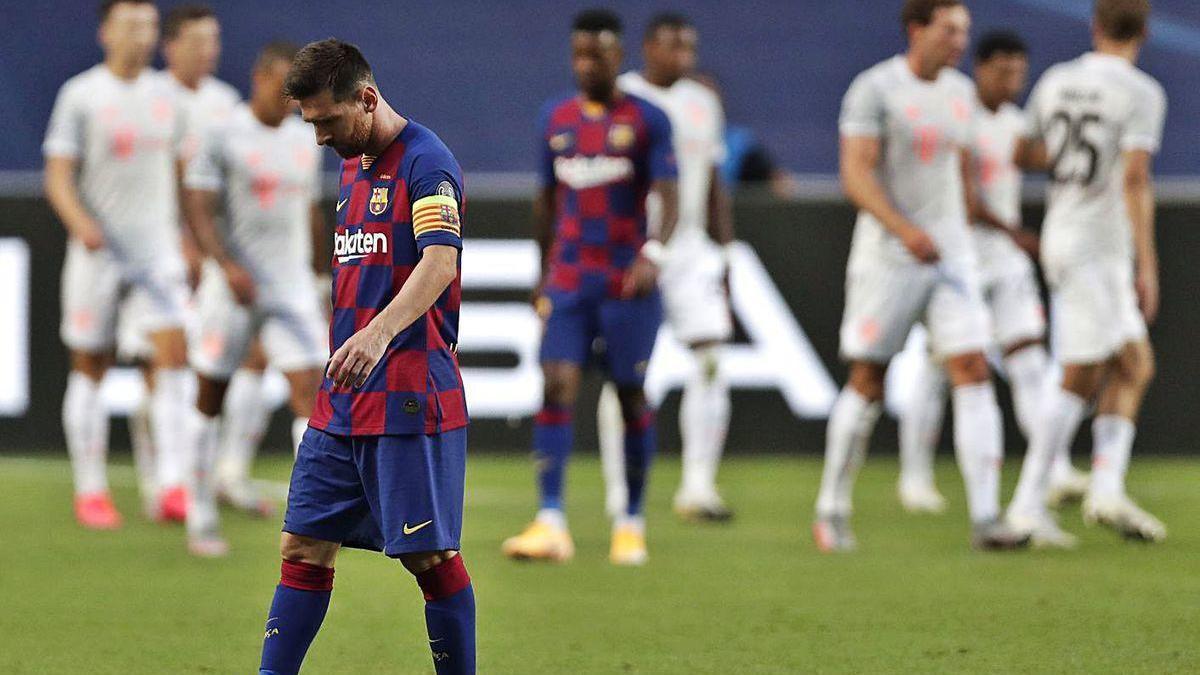 Messi, tras la derrota en Lisboa contra el Bayern.