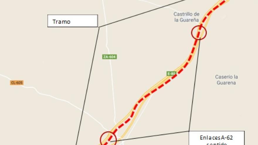 Desvían por la N-620 el tráfico de la A-62 entre Castrillo de la Guareña y Cañizal