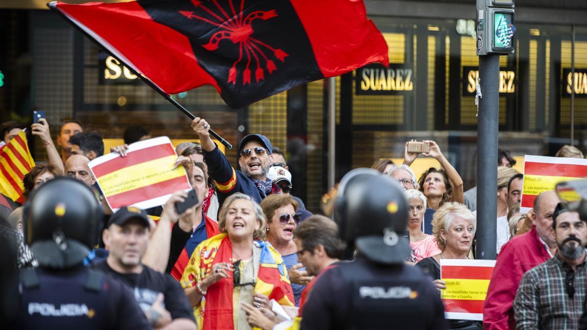 Imagen de una concentración de protestas tras la sentencia del procés