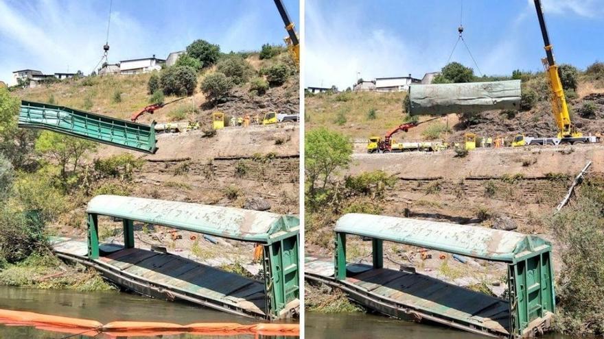 Adif desguaza el vagón que tiró al Sil para retirarlo de las aguas del río