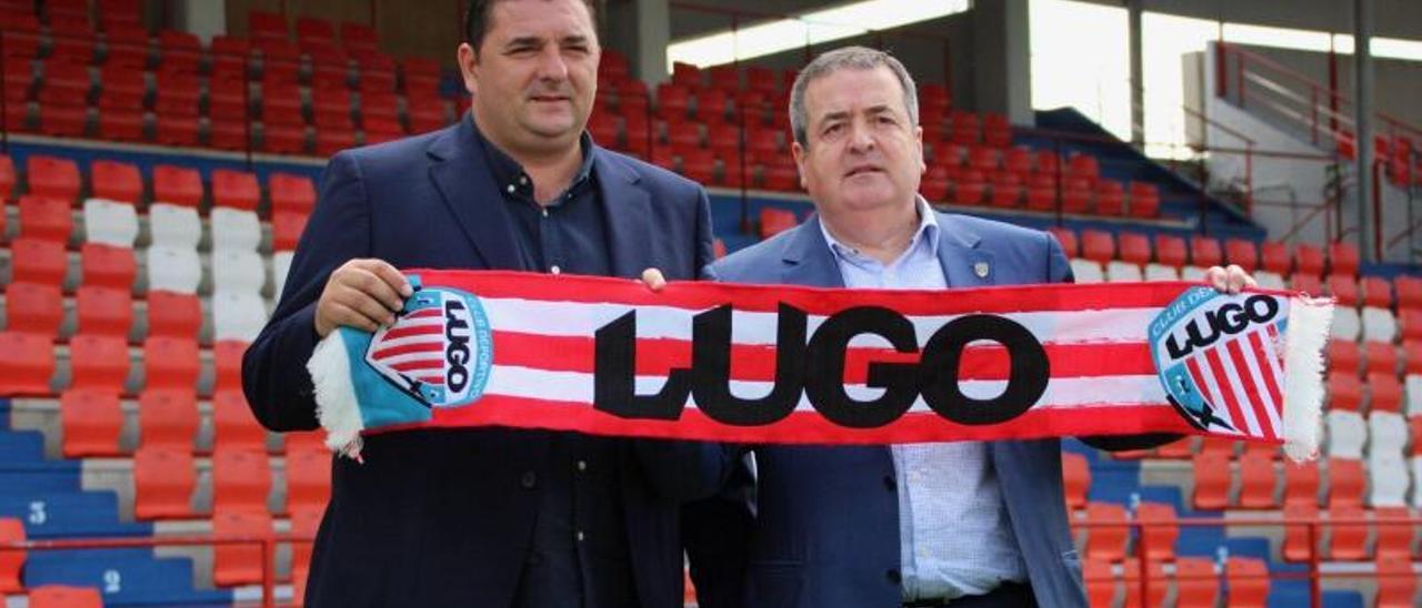 Por la izquierda, Viqueira y Tino  Saqués.       CDLUGO