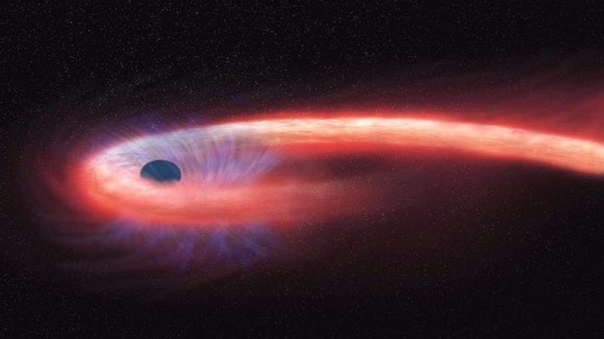 lustración del momento de espaguetización de una estrella.