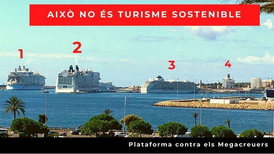 Vier Kreuzfahrtschiffe gleichzeitig im Hafen von Palma de Mallorca sorgen für Unmut