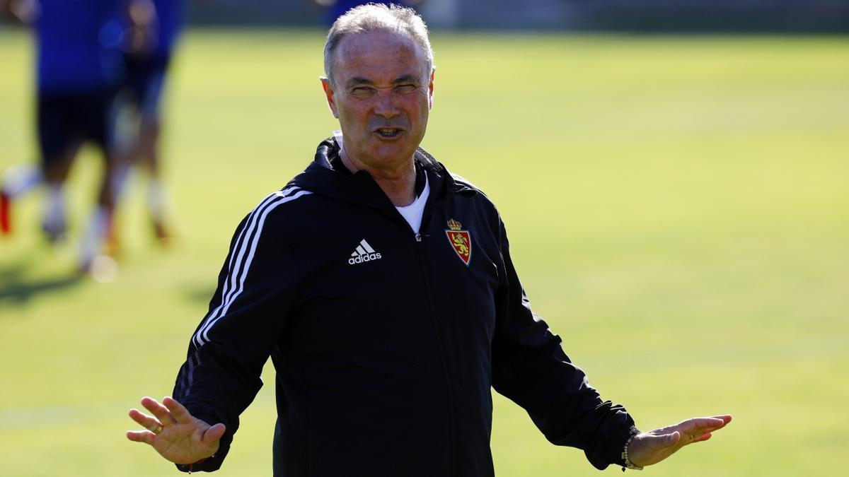Juan Ignacio Martínez, en un entrenamiento del Real Zaragoza.