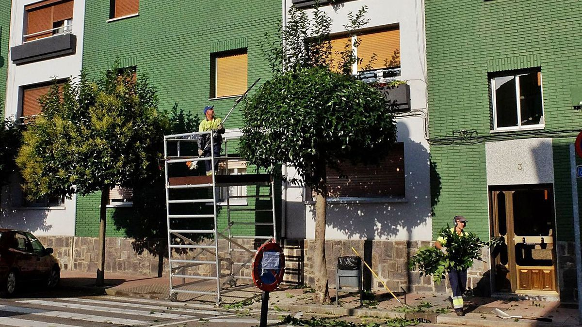 Operarios del área de limpieza trabajan en el casco urbano.