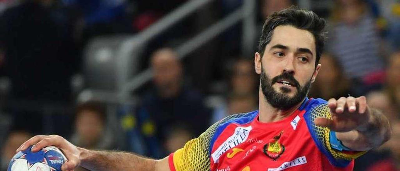 Raúl Entrerríos, en un partido con la selección española.