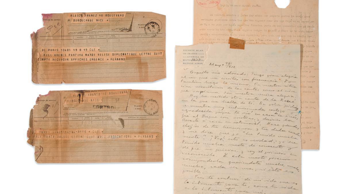 Los documentos de Blasco subastados por la casa Fernando Durán en Madrid.