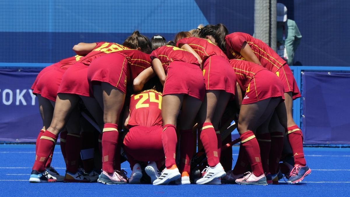 Las jugadoras de la selección española femenina de hockey sobre hierba.