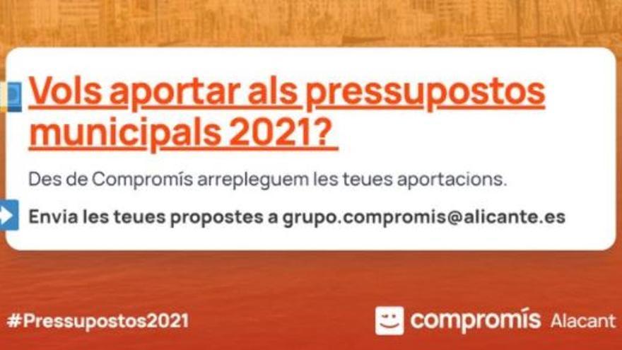 Compromís inicia una campaña para recoger propuestas de la ciudadanía para los Presupuestos 2021