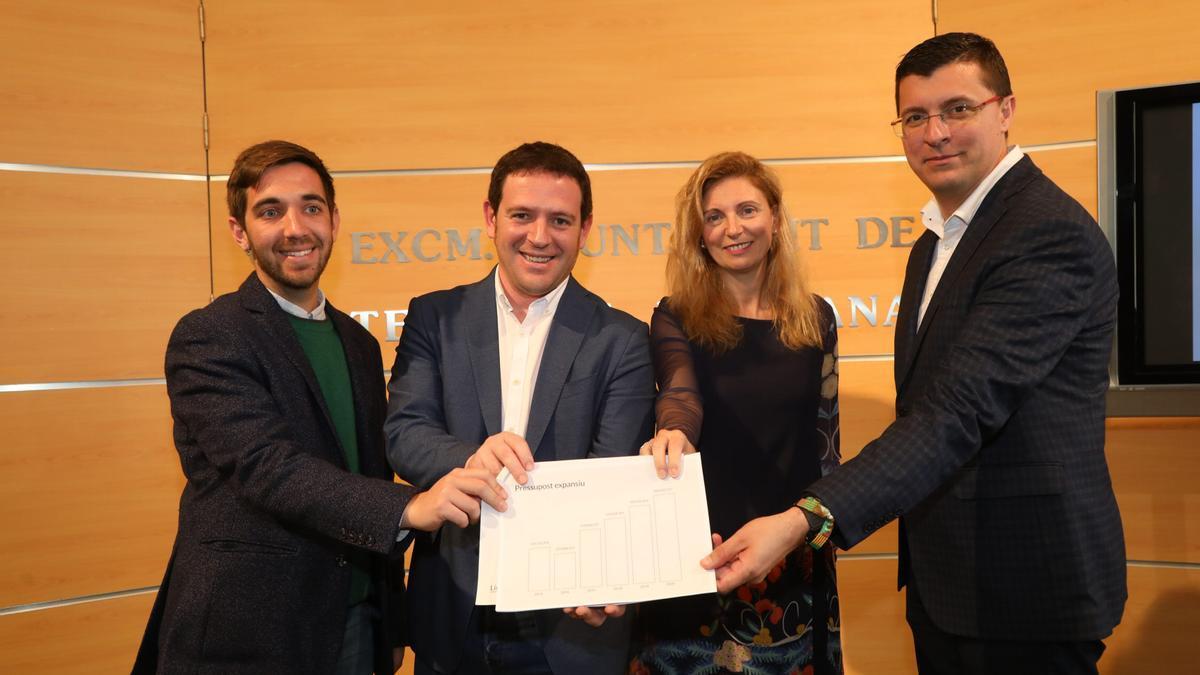 Navarro, Garcia, Marco y Donate en la presentación de los presupuestos del 2020.