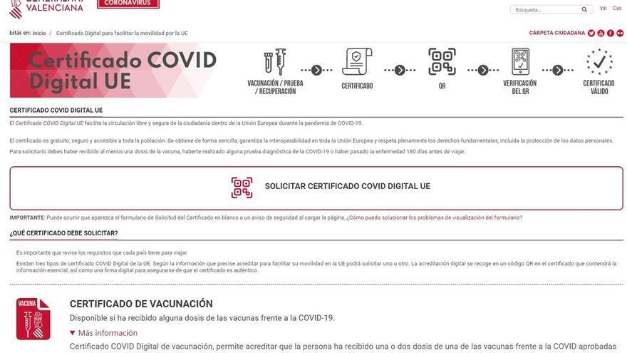 La Comunitat es la cuarta autonomía que más certificados Covid ha emitido en relación a su población